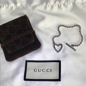 GUCCI Toggle Heart Bracelet w/ Pouch & Dust Bag